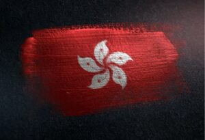 Painting of Hong Kong flag.